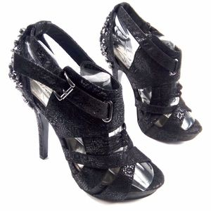 Not Rated Black Suede Snake Embossed Studded Heels
